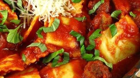 Quick Ravioli with Sausage Meatballs