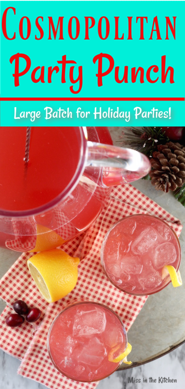 Cosmopolitan Party Punch with vodka and Moscato wine