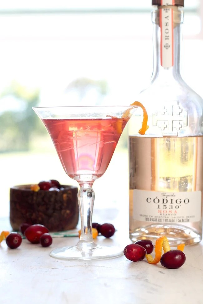Cranberry Tequila Old Fashioned with an orange twist
