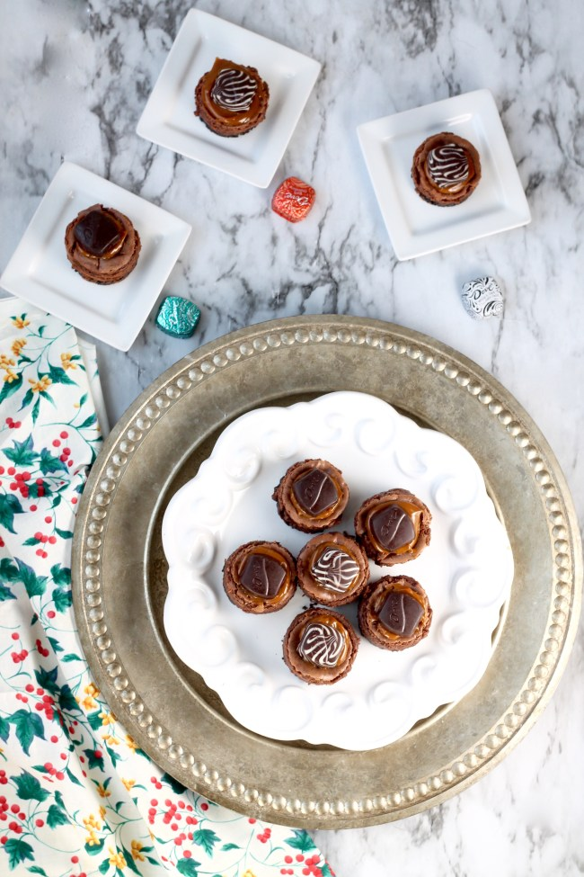 Mini Chocolate Cheesecakes with Dove Chocolates and Dulce De Leche Caramel