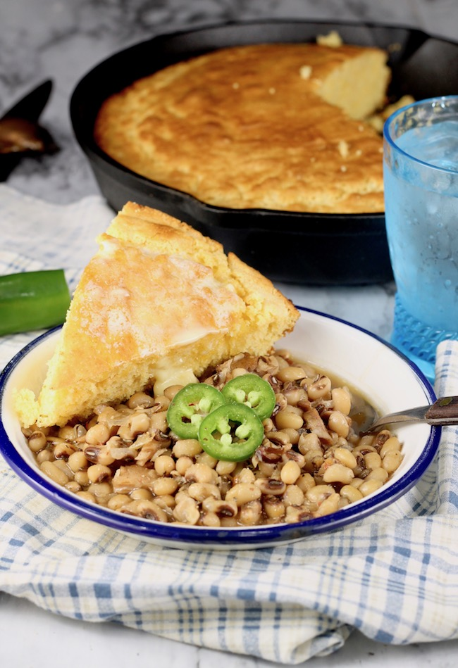 Crock Pot Black Eyed Peas with skillet cornbread