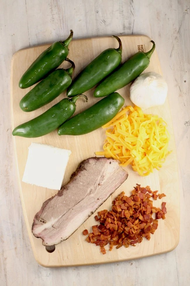 Ingredients for Jalapeno Poppers with Brisket and Bacon and cream cheese