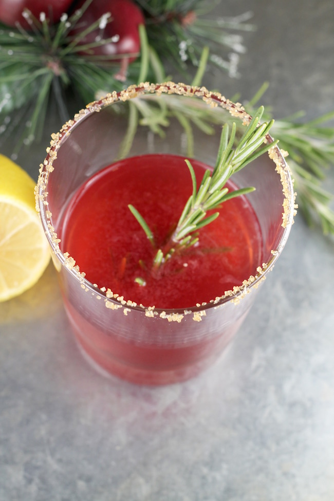 Pomegranate Sidecar Cocktail with bourbon