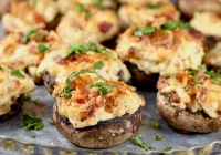 Bacon Stuffed Mushrooms with cheese and caramelized onions