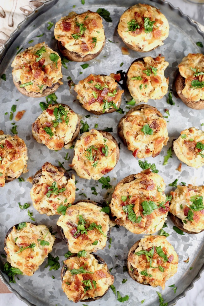 Keto Stuffed Mushrooms with bacon, cream cheese, caramelized onions and smoked gouda