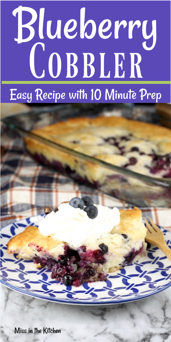 Easy Blueberry Cobbler Recipe with whipped cream