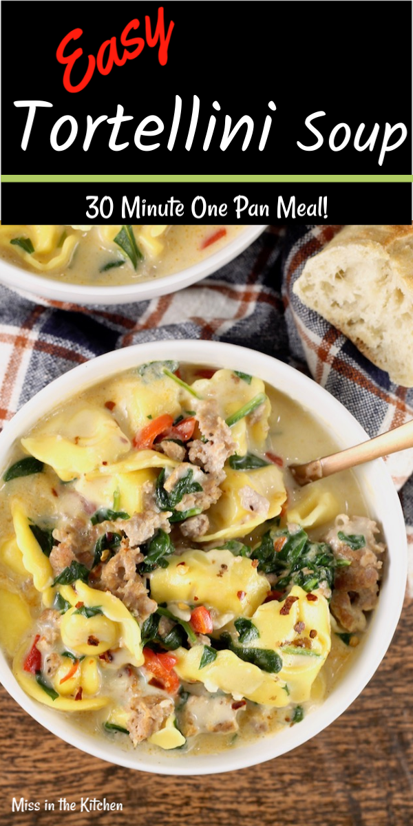 Easy Tortellini Soup served with a toasted baguette