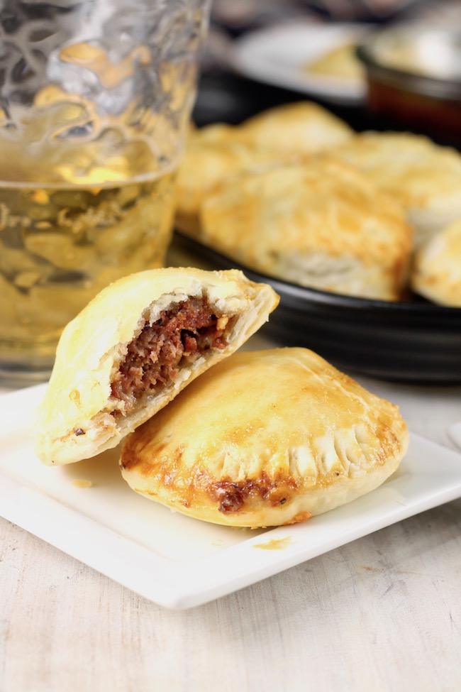 Barbecue Meat Pies made with grilled meatballs wrapped in pie crust