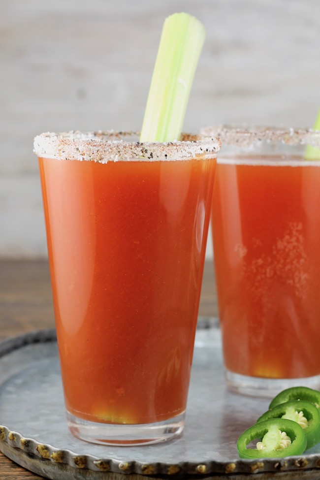 Red Beer garnished with celery