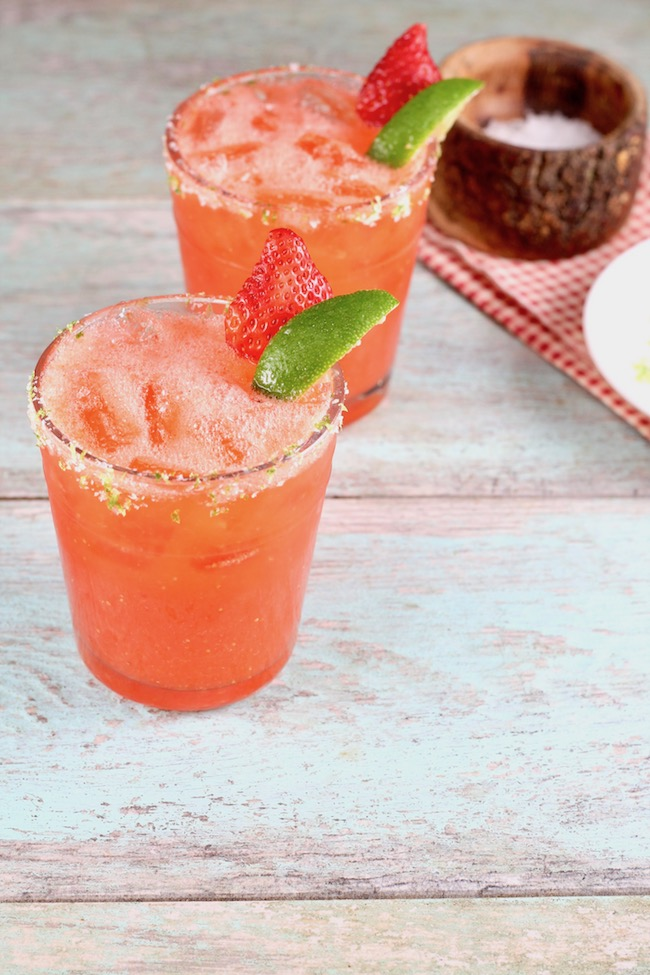 Easy Strawberry Margarita made with tequila and fresh strawberries