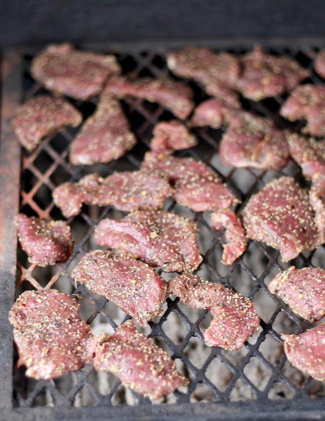Smoking venison steaks for Pot Pie