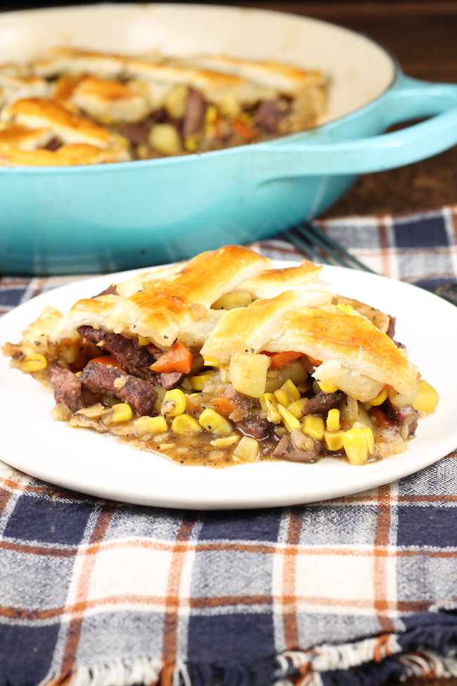 Steak Pot Pie made with venison or beef with a double crust