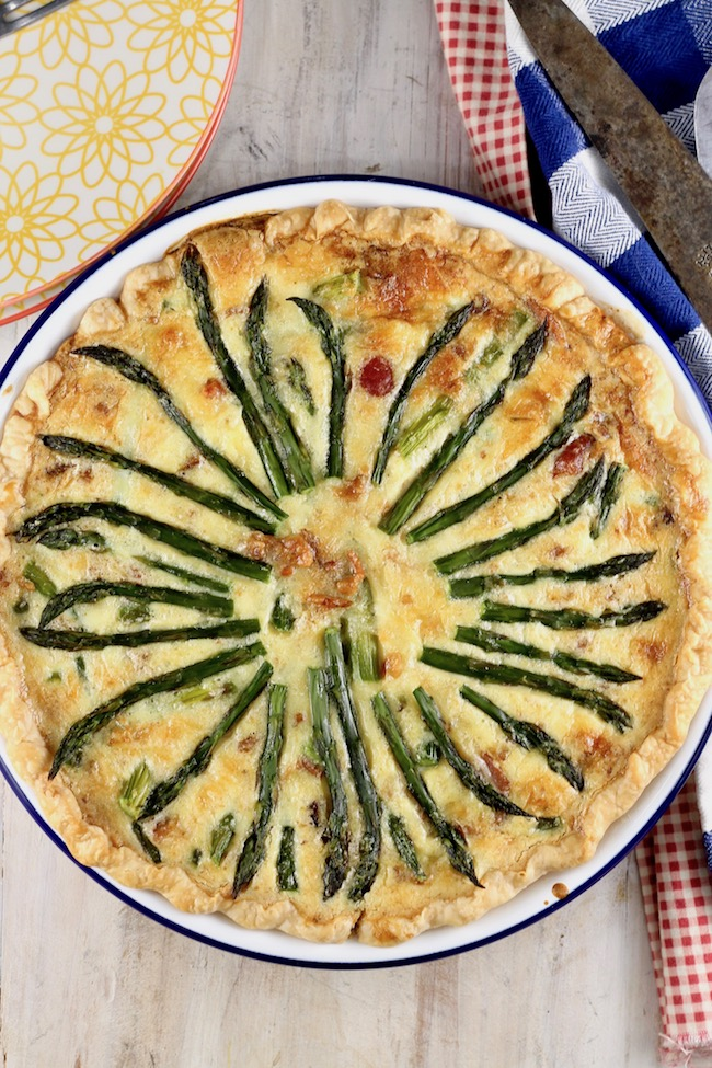Asparagus Quiche baked with bacon and Gruyere cheese