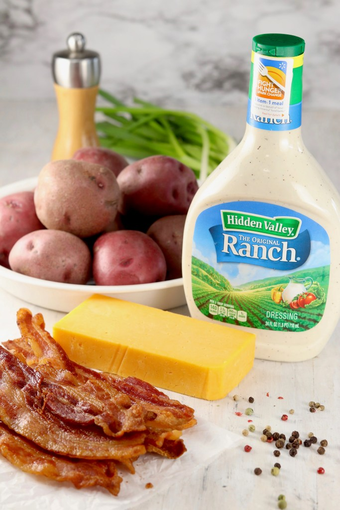 Ingredients for Bacon Ranch Potato Salad with Hidden Valley Ranch, Red Potatoes, bacon, cheddar cheese, green onions