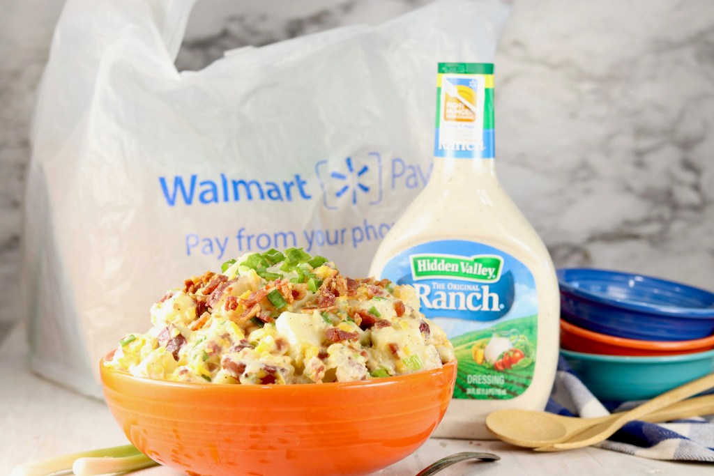 Bacon Ranch Potato Salad with Hidden Valley Ranch + Walmart Bag