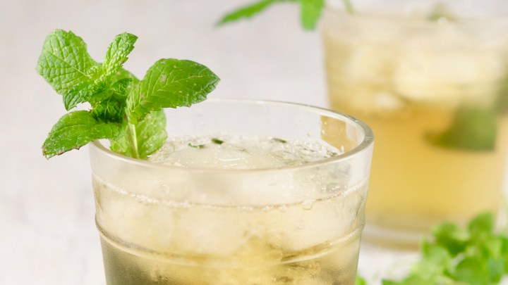 cocktail with bourbon and mint