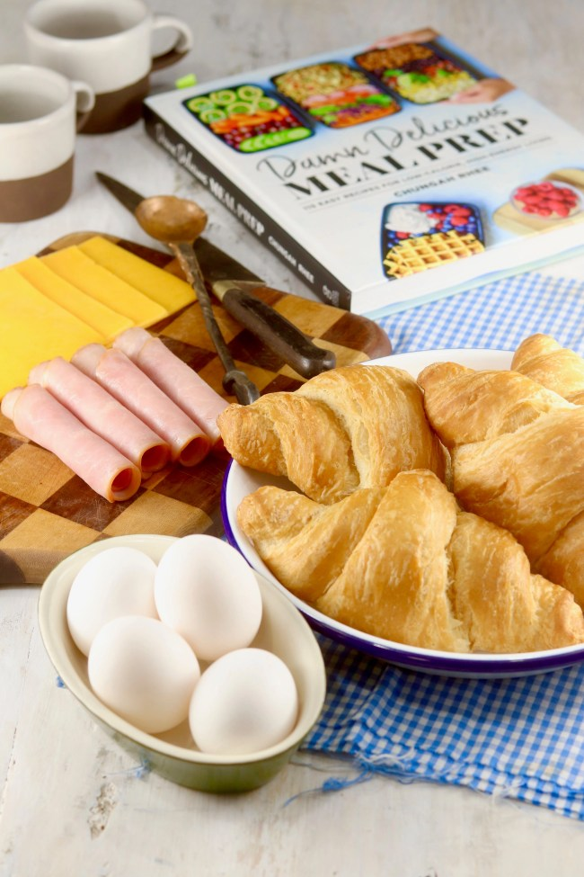 Eggs, croissants, ham and cheese for breakfast sandwiches