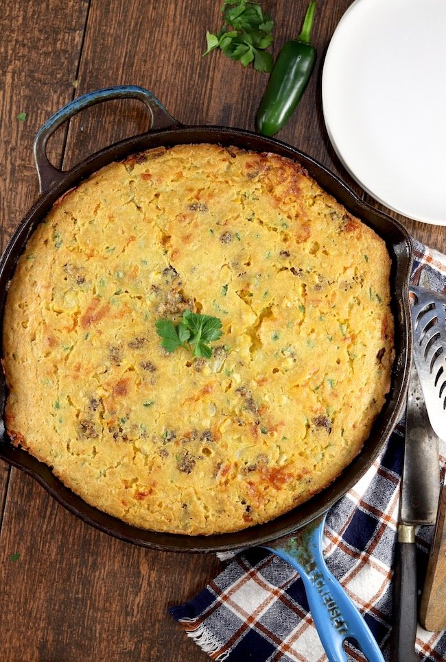Mexican Cornbread made in an iron skillet
