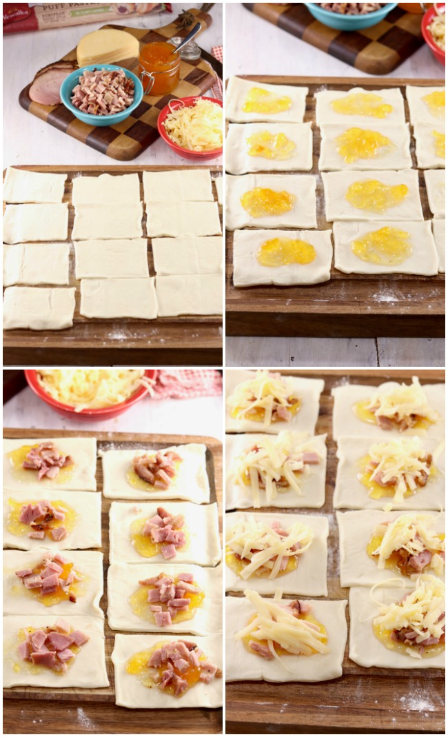 Collage with steps to make Ham and Cheese Party Puffs