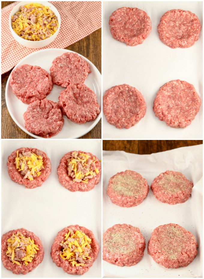 Ground Chuck Patties stuffed with ham and cheese