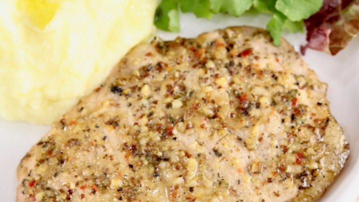 Italian Pork Chops with mashed potatoes and salad