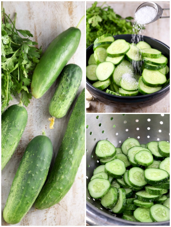 Collage, cucumbers and cilantro, salting cucumbers, cucumbers in colander