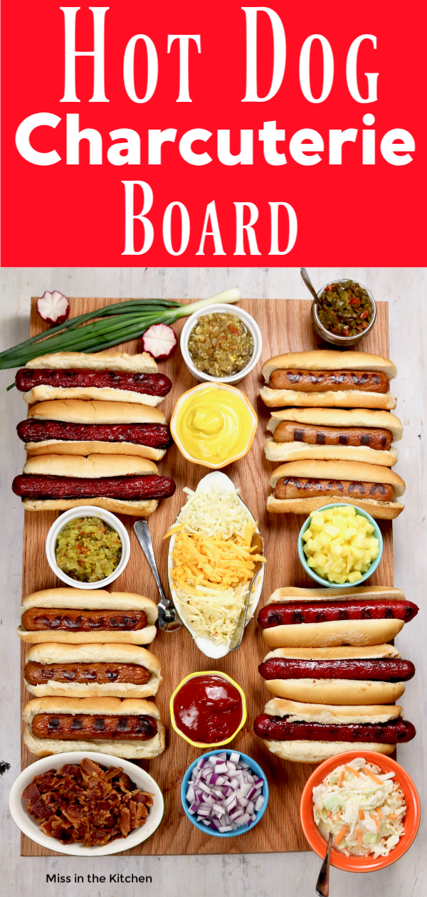 Board of grilled hot dogs and toppings
