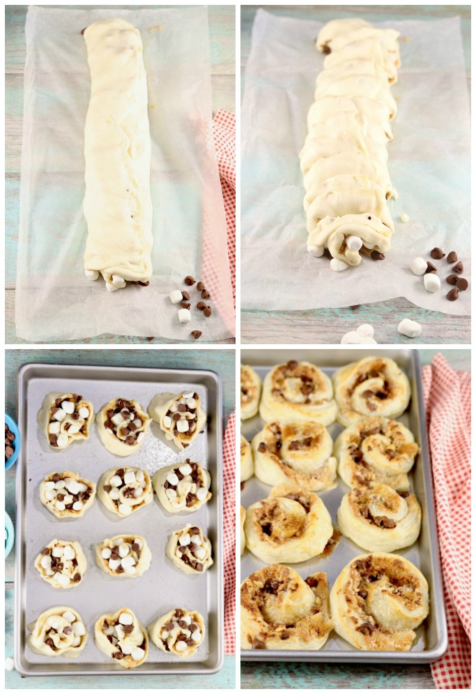 Steps for making S'mores Sweet Rolls