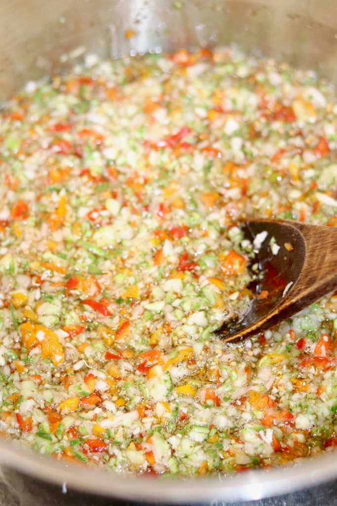 Cooking sweet pickle relish for canning
