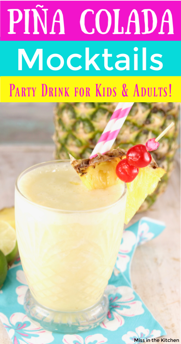 Text overlay of Pina Colada Mocktail with fresh pineapple