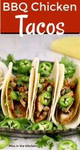 Chicken Tacos with jalapenos and barbecue sauce