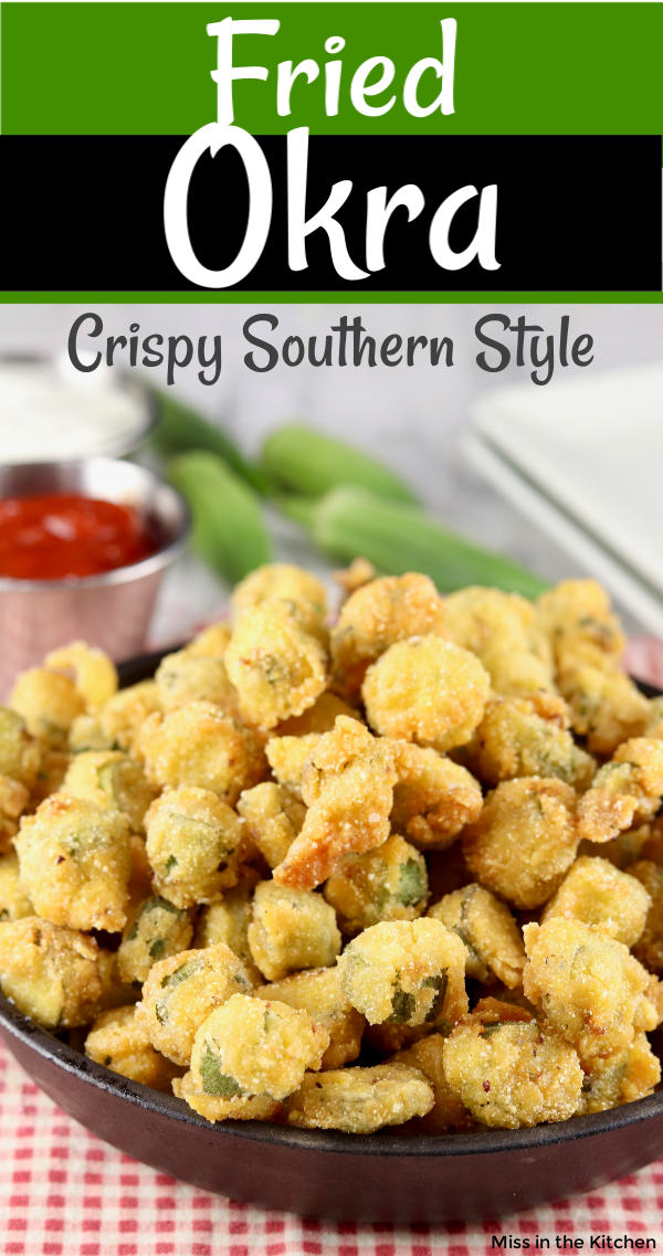 Deep Fried Okra with text overlay