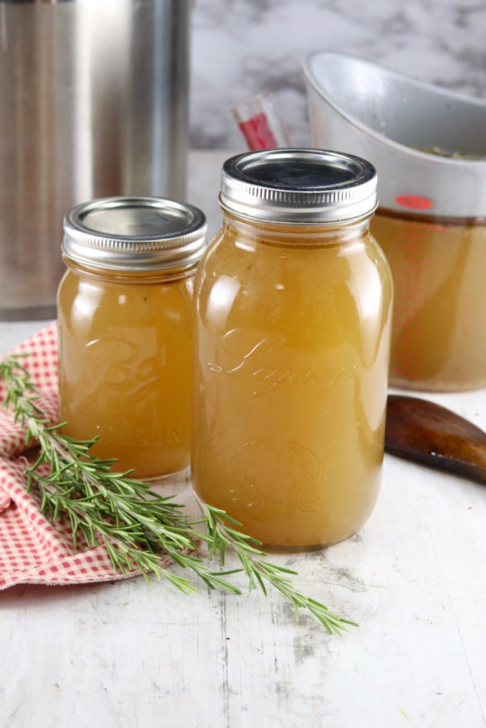 Homemade Turkey Stock in mason jars