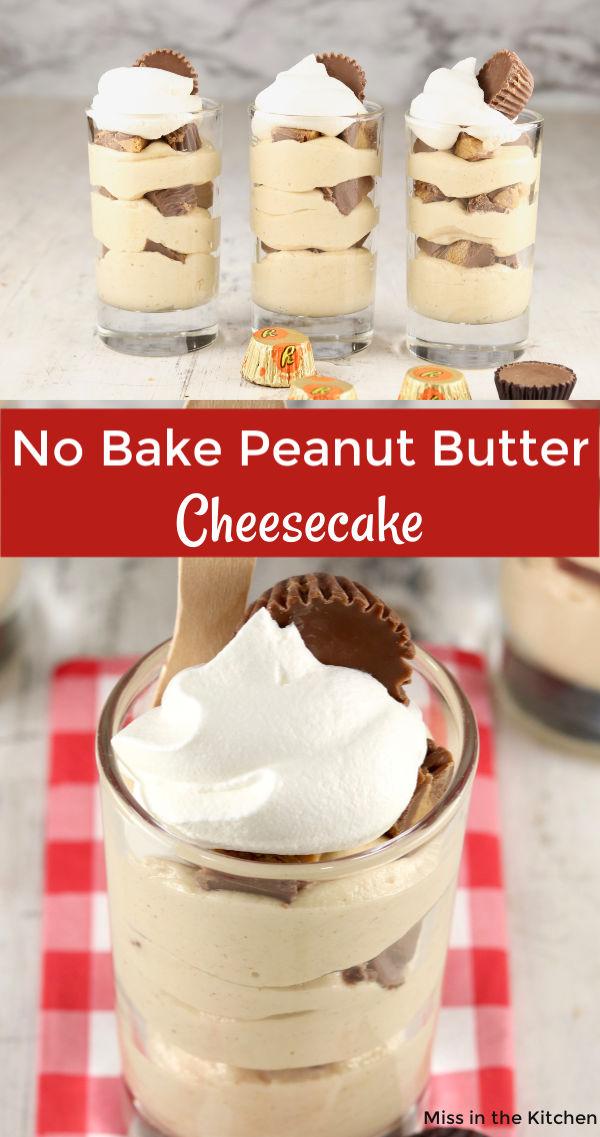 Collage of no bake cheesecake parfait