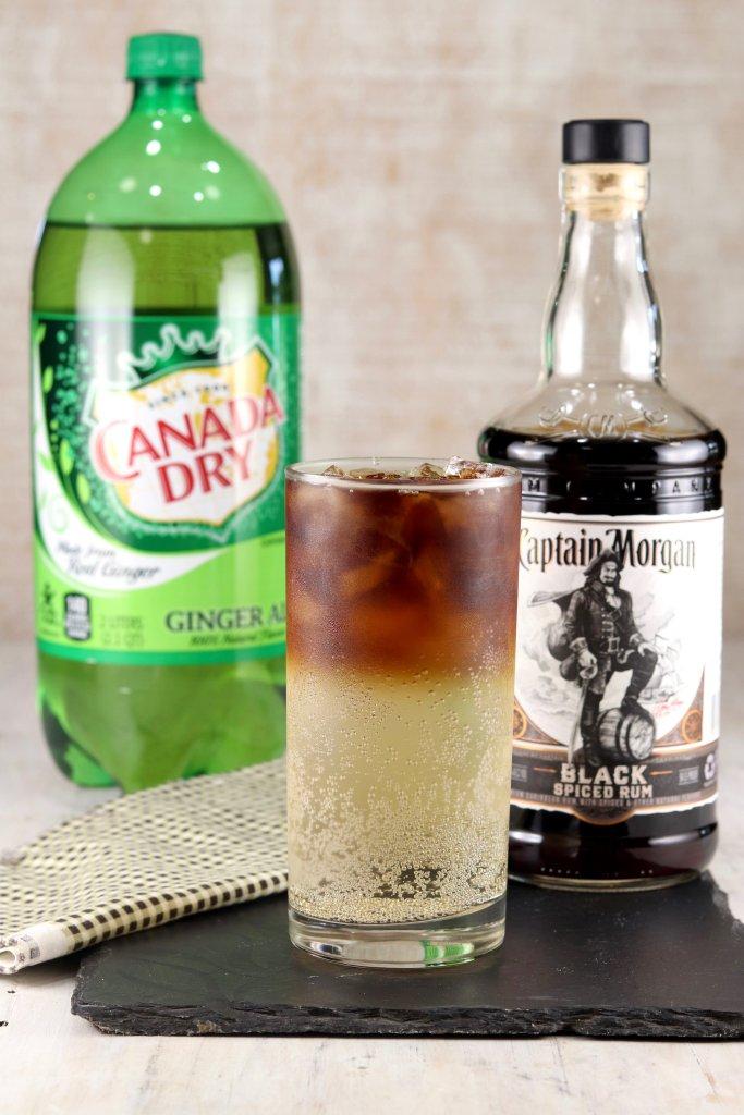 Ginger Ale Bottle, Black Rum Bottle, Rum and Ginger Cocktail