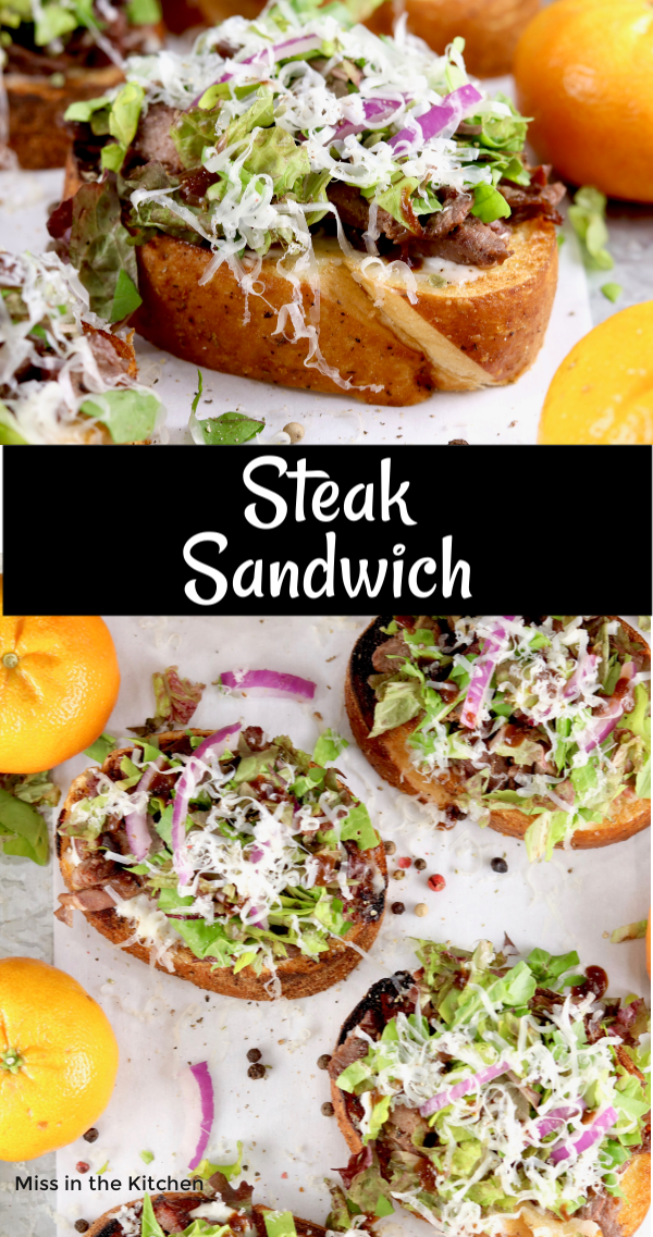 Steak sandwich photo collage with overhead view and text overlay