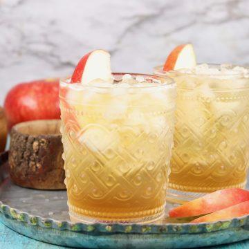 2 glasses of apple cider shandy