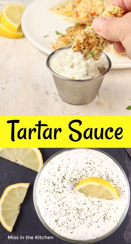 Fish Sticks and Tartar Sauce with text overlay