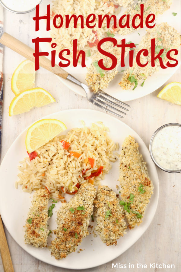 Fish Sticks with rice and peppers