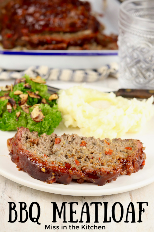 Plate of bbq meatloaf with broccoli and mashed potatoes