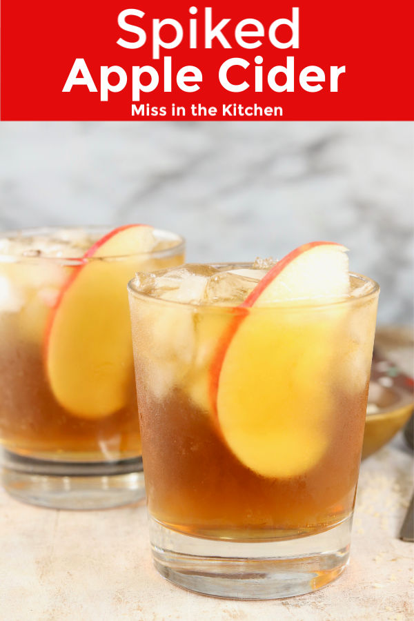 Spiked Apple Cider in old fashioned glasses