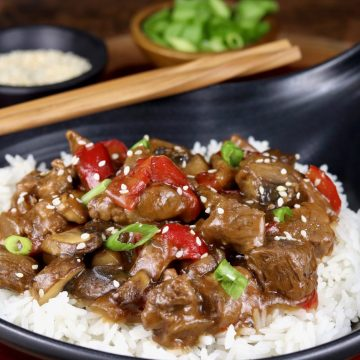 Teriyaki Steak Tips with red peppers