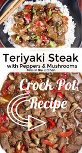 Collage with text over teriyaki steak