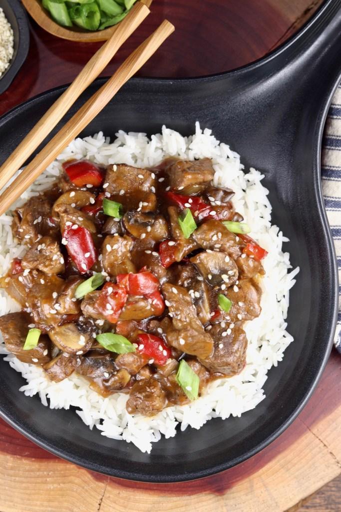 Rice with teriyaki steak