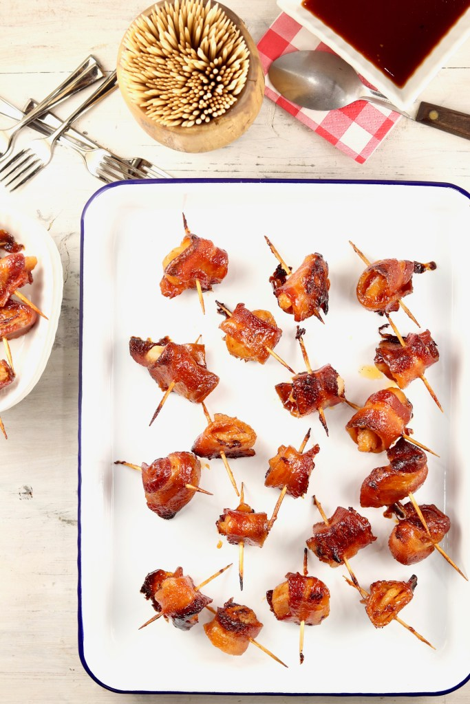 Tray of bacon water chestnut appetizers
