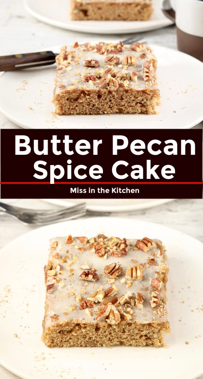 Butter Pecan Spice Cake with text overlay