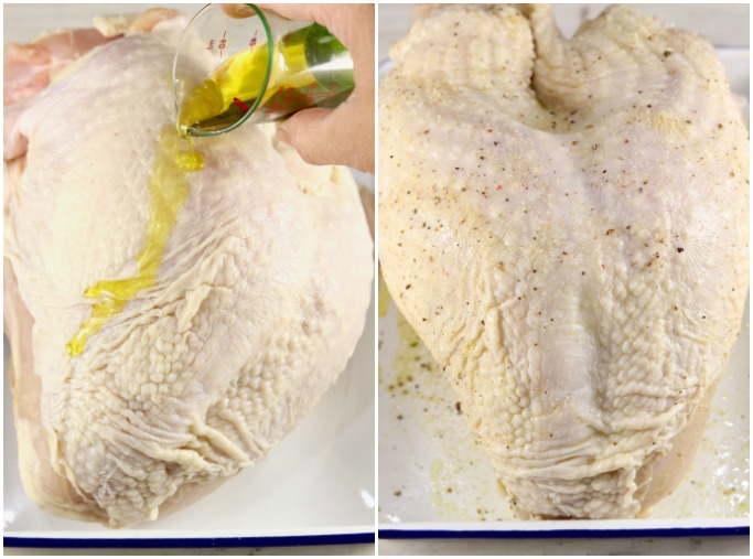 Turkey breast with olive oil and seasonings