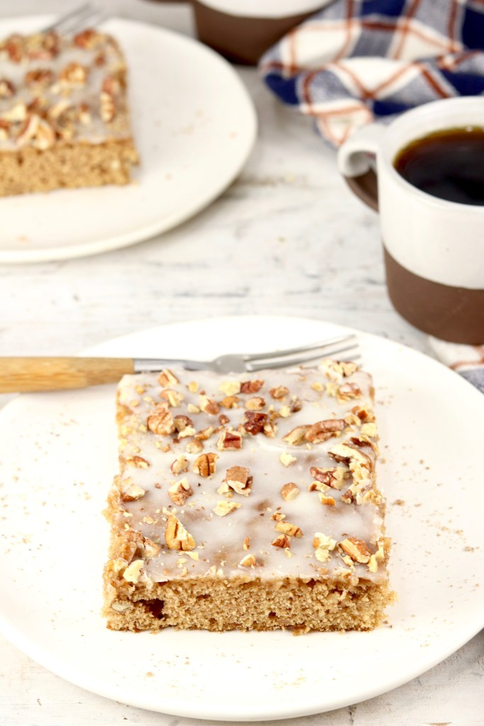 Slice of spice cake with coffee
