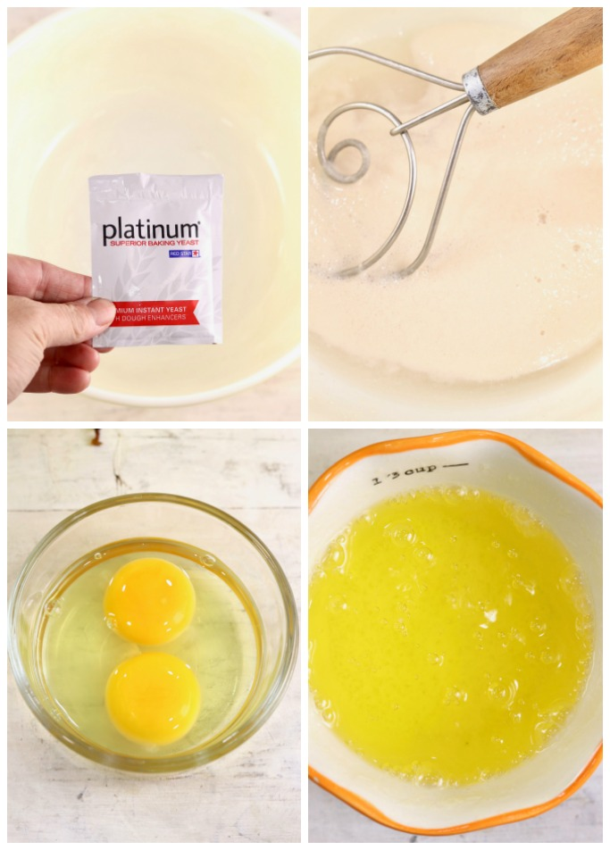 Collage, yeast, water and yeast, eggs, butter