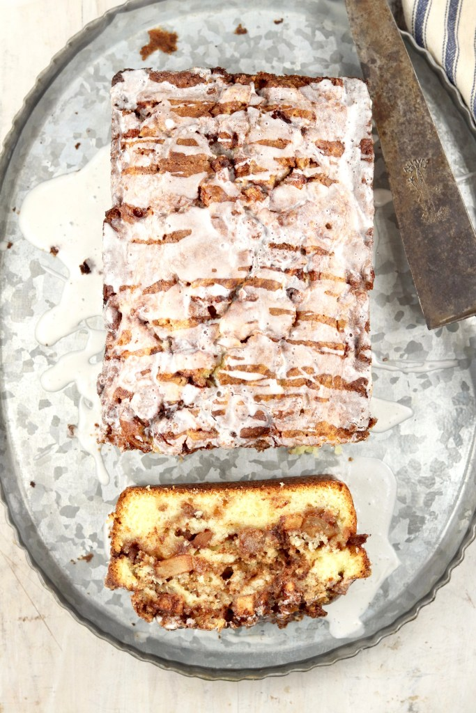 Apple fritter cake drizzled with icing